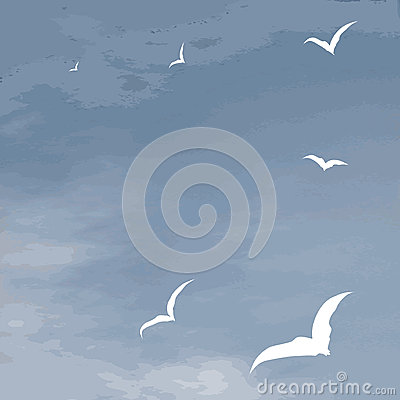 Vector background sea surface and flying seagulls