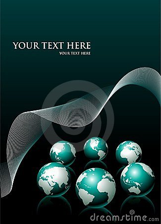 Vector background with six globe and white wave