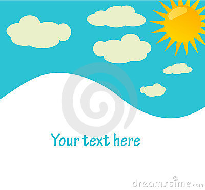 Vector background with sky, sun and clouds