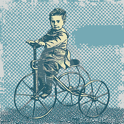 Free Vector Background With Boy On Retro Bicycle Royalty Free Stock Photo - 9190215