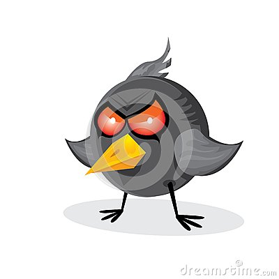 Free Vector Bad Angry Black Raven Bird. Stock Photography - 36042692