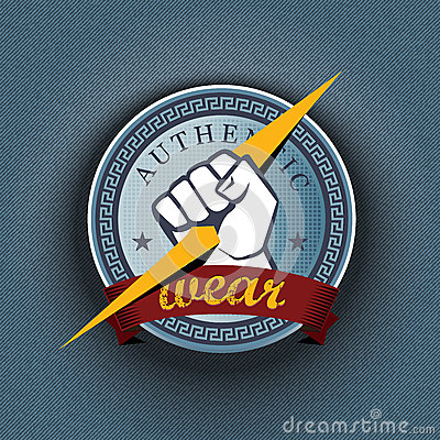 Vector badge on striped pattern background