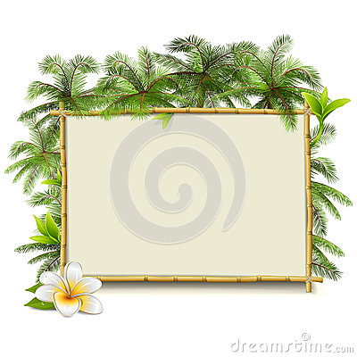 Free Vector Bamboo Frame With Palm Royalty Free Stock Photography - 54679677