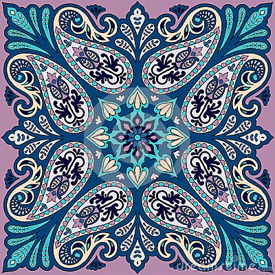 Free Vector Bandana Print With Paisley Ornament. Cotton Or Silk Headscarf, Kerchief Square Pattern Design, Oriental Style Royalty Free Stock Photo - 107606625