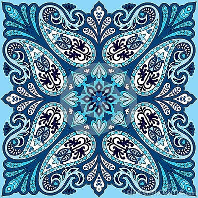Free Vector Bandana Print With Paisley Ornament. Cotton Or Silk Headscarf, Kerchief Square Pattern Design, Oriental Style Royalty Free Stock Photo - 107608265