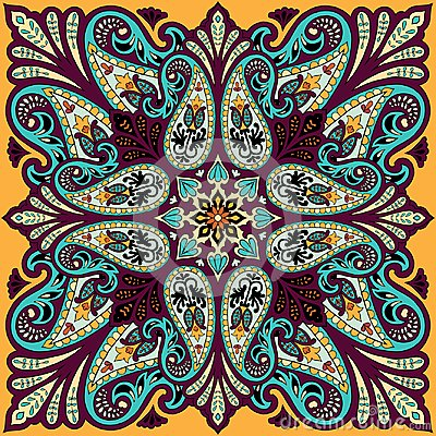 Free Vector Bandana Print With Paisley Ornament. Cotton Or Silk Headscarf, Kerchief Square Pattern Design, Oriental Style Stock Photography - 107608272
