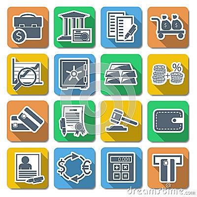 Vector Bank Flat Icons