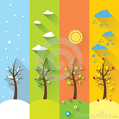Free Vector Banner - Four Seasons Royalty Free Stock Image - 43681326
