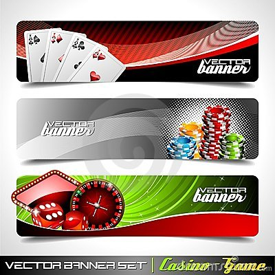 Vector banner set on a Casino theme.
