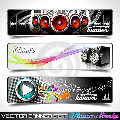 Free Vector Banner Set On A Music And Party Theme. Stock Image - 20903761