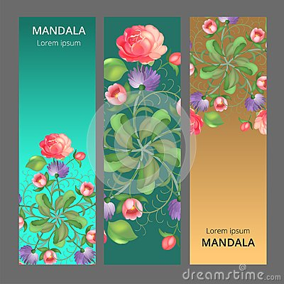 Free Vector Banner Set With Floral Ornament. Rose, Tulip, Leaf. Circular Ornament. Stock Photography - 117548652