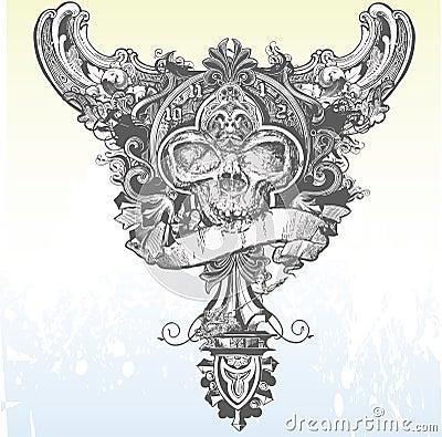 Vector Banner Skull Apparel Design