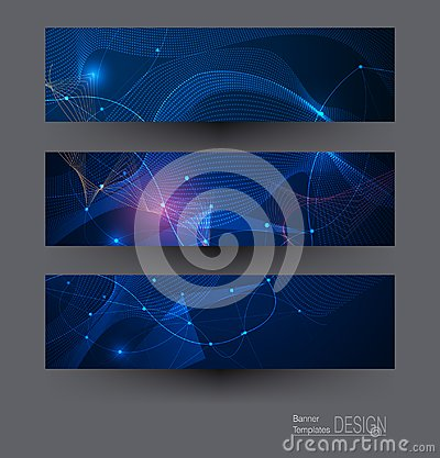 Free Vector Banners Set, Network Communication On Dark Blue Background Stock Photography - 118246512