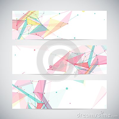 Free Vector Banners Set With Polygonal Abstract Shapes Royalty Free Stock Images - 41444159