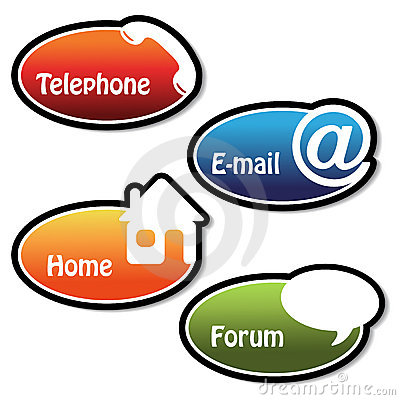 vector banners - telephone, email, home, forum