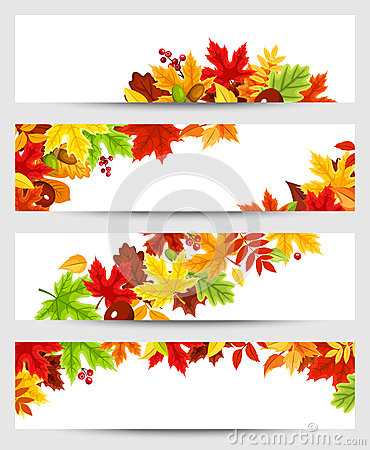 Free Vector Banners With Colorful Autumn Leaves. Royalty Free Stock Photography - 58946947