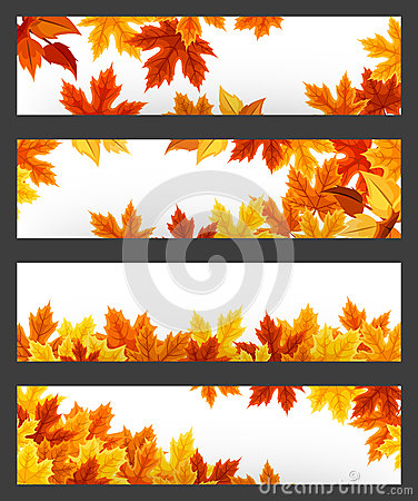 Free Vector Banners With Colorful Autumn Leaves. Eps-10. Stock Photos - 44350413