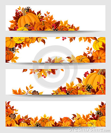 Free Vector Banners With Orange Pumpkins And Autumn Leaves. Royalty Free Stock Photos - 45371038