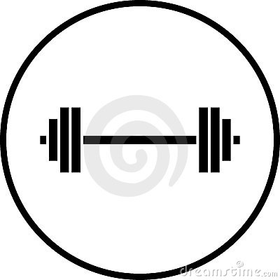 Vector barbell gym weights symbol illustration