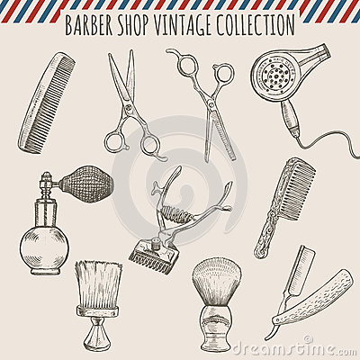 Free Vector Barber Shop Vintage Tools Collection. Pencil Hand Drawn Illustration Royalty Free Stock Image - 67520426