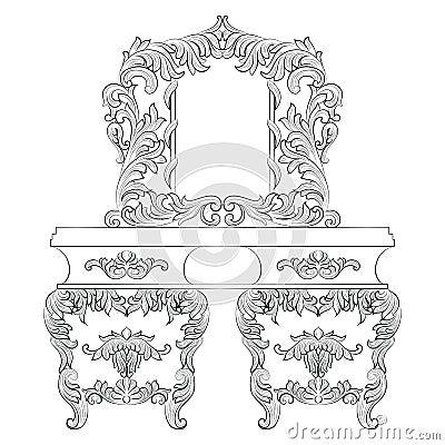 Vector Baroque Dressing Table Vector Illustration