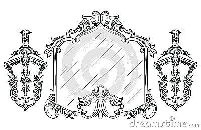 Vector Baroque mirror frame Vector Illustration