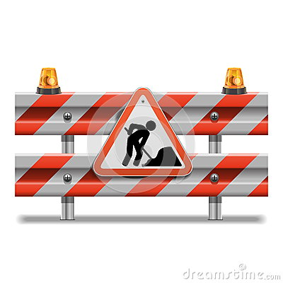 Free Vector Barrier With Sign And Beacon Royalty Free Stock Photography - 36984327
