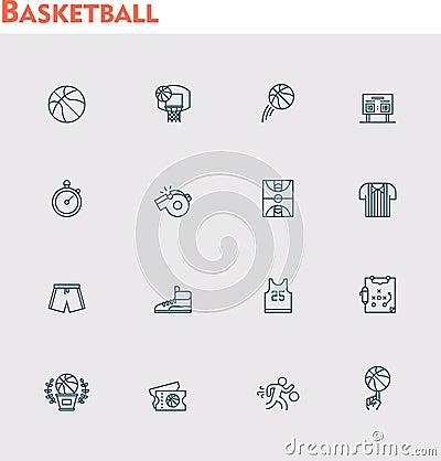 Free Vector Basketball Icon Set Royalty Free Stock Photos - 52014268