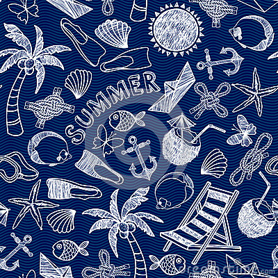 Free Vector Beach Seamless Pattern. Summer Background. Stock Images - 56083634