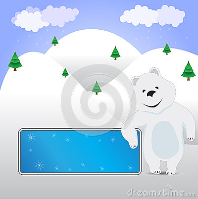 Vector Bear with a banner on the winter background