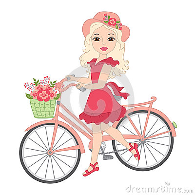 Vector Beautiful Blond Girl with Bicycle Vector Illustration
