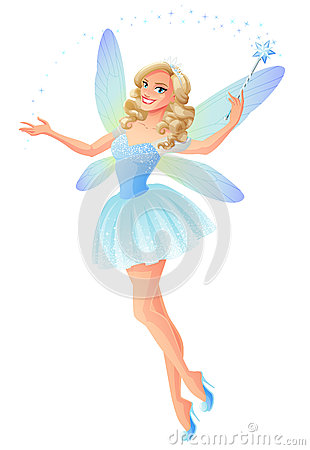 Free Vector Beautiful Blue Fairy With Magic Wand And Dragonfly Wings. Royalty Free Stock Photos - 85096658
