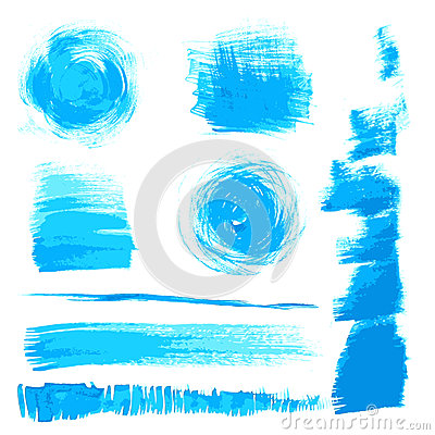 Vector beautiful handmade blue strokes