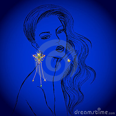 Vector Beautiful Lady with diamond earring and