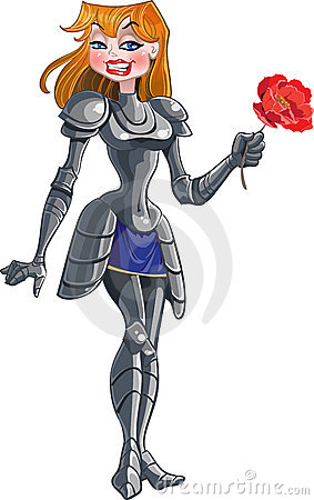 Vector beautiful princess knight with flower