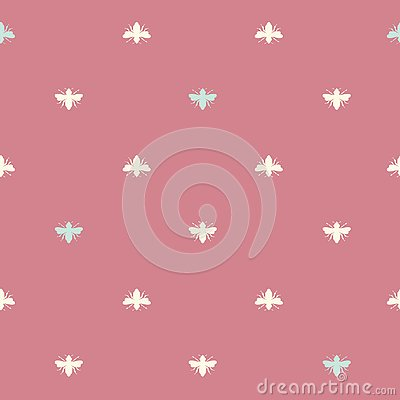 Vector Bees Shapes on Vintage Red seamless pattern background. Vector Illustration