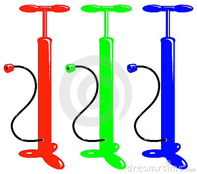 Vector bicycle red green blue air pump