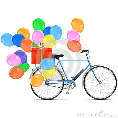 Free Vector Bicycle With Balloons Royalty Free Stock Images - 63767129