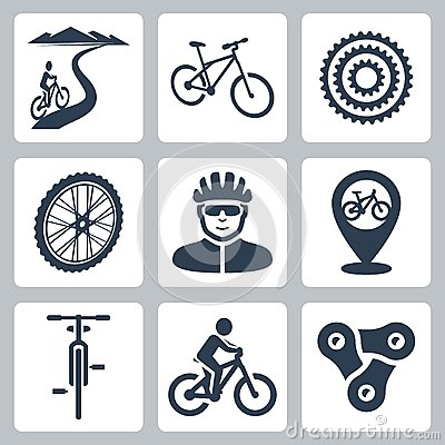 Free Vector Bicycling, Cycling Icons Set Royalty Free Stock Photography - 38523557