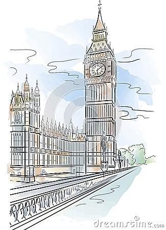 Vector Big Ben of Tower in London