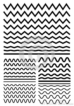 Free Vector Big Set Of Seamless Wavy - Curvy And Zigzag - Criss Cross Stock Photography - 95517482