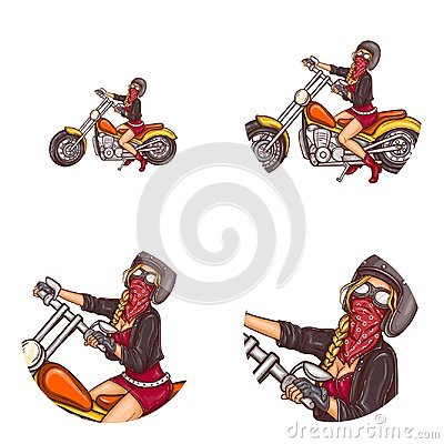 Free Vector Biker Sexy Girl Pop Art Avatar Icons Royalty Free Stock Image - 107522196