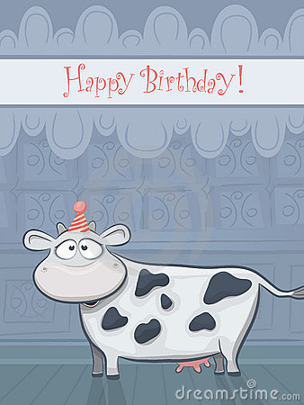 Vector Birthday card with funny cow