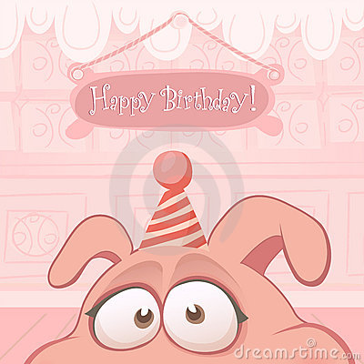 Vector Birthday card with funny pig