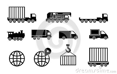Vector black big transportation icon set