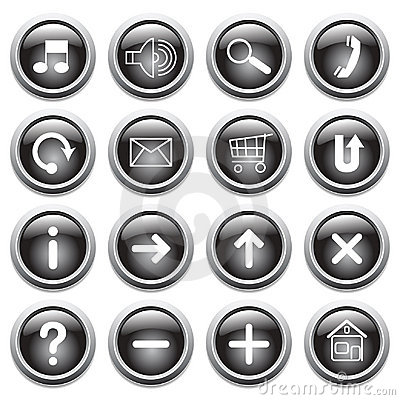 Free Vector Black Buttons With Symbols. Royalty Free Stock Image - 8839826
