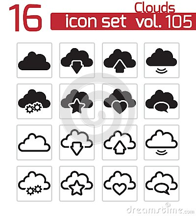 Vector black  clouds  icons