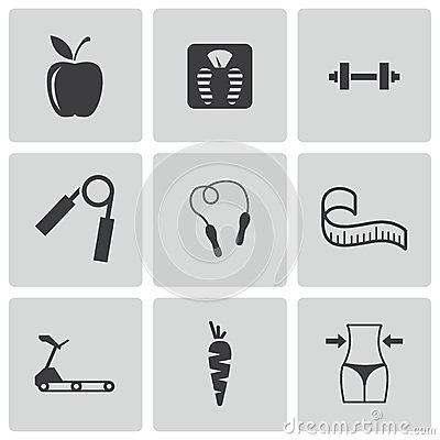 Vector black diet icons set