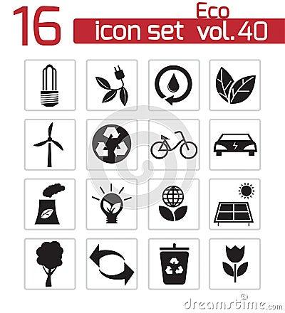 Vector black eco icons