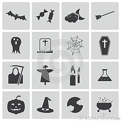 Vector black  halloween icons